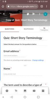 ELA 6 - 12 Auto-Grading Short Story Quiz (It Marks Itself!)