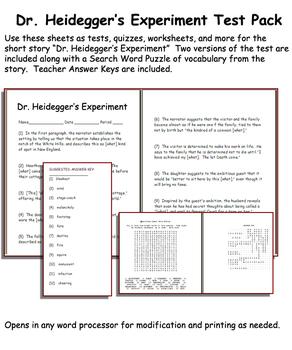 Short Story Test: Dr. Heidegger's Experiment by Nathaniel Hawthorne