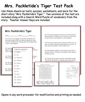 Short Story Test: Mrs. Packletide's Tiger by Saki