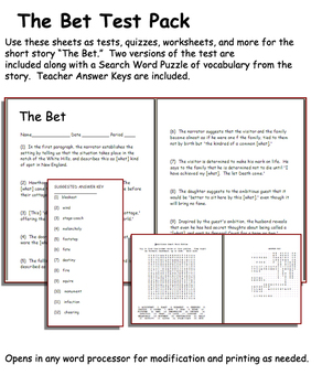 Short Story Test: The Bet by Anton Checkov