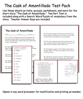 Short Story Test: The Cask of Amontillado by Edgar Allan Poe