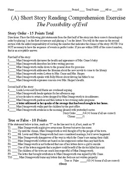 Short Story Test - The Possibility of Evil