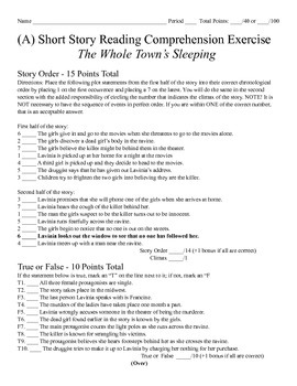 Short Story Test - The Whole Town's Sleeping