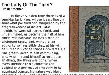 Short Story: The Lady or the Tiger? Story with Questions & Paragraph Assignment