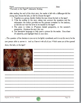 The Lady or the Tiger?, Abridged Version, Short Story