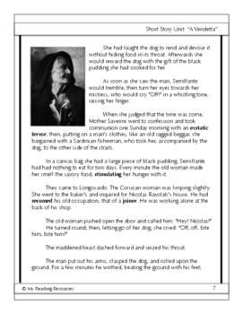 Short Story Unit:  A Vendetta by Guy de Maupassant