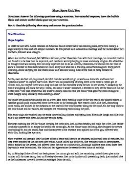 Short Story Unit Assessment Based on Standards