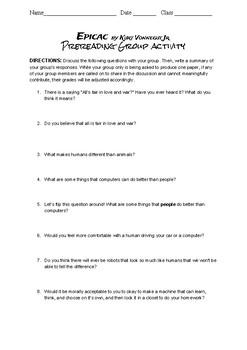 Short Story Unit: Epicac by Kurt Vonnegut: Prereading, Comp Questions, and Quiz