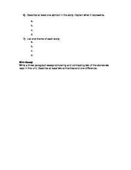 Short Story Unit Exam