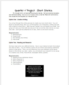 Short Story Unit - Final Project with 2 Options