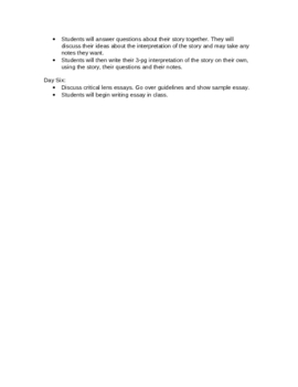 Short Story Unit Lesson Plans for Honors Class