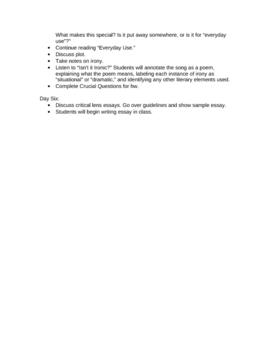 Short Story Unit Lesson Plans