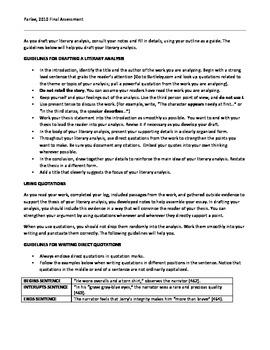 Short Story Unit Summative: Canonization Essay