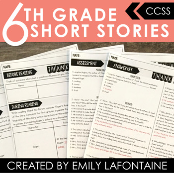 Short Story Unit with Multiple Choice Assessments and Pre, During, Post Plans