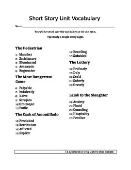 Short Story Vocabulary List, Flashcards, and Differentiated Tests