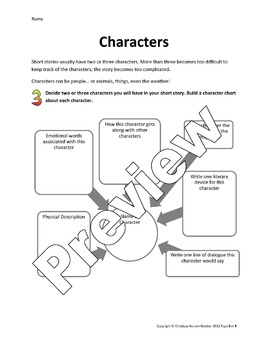 Short Story Writing Student Worksheet