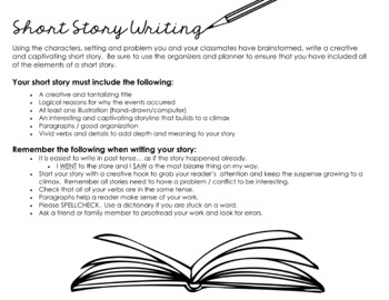 Short Story Writing - Story Starter Idea, Worksheets,Organizers