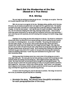 Short Story for Annotation, Grammar and Close Reading