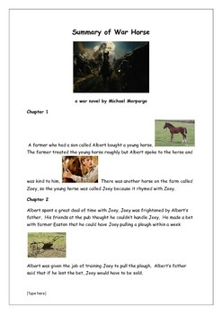 Short Summary of War Horse with illustrations