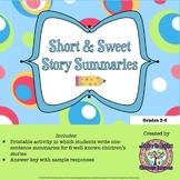 FREEBIE Short & Sweet Story Summaries