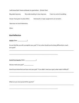 Short Term Goal Sheet
