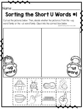 Short U CVC Word Activities