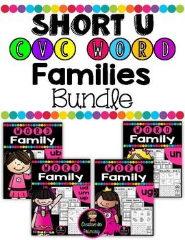 Short U CVC Word Families Worksheets