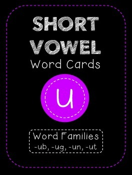 Short U CVC Word Family Cards