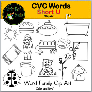 CVC Words Clip Art - Short U Words - Word Families