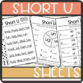 Short U CVC words: Worksheets- Spinner, Roll and Read, Practice Sheet