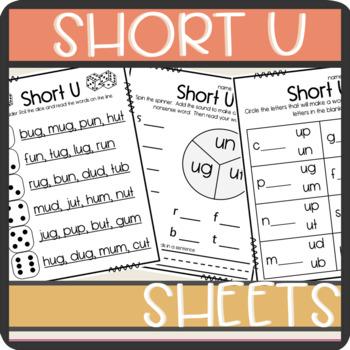 Short U CVC words: Worksheets- Spinner, Roll and Read, Pra