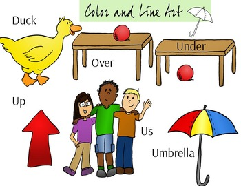 Short U Clip Art Set - Color and Line Art 12 pc set