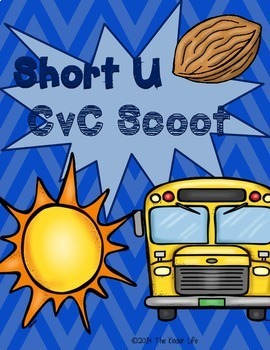 Short U CvC SCOOT Game- 20 CvC Word Cards PLUS 4 different recording sheets