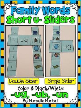 Short U- Family Words- Single & Double Sliders (UG, UB, UN)