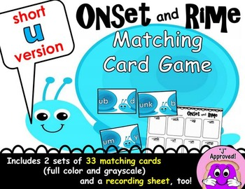 Short U Onset and Rime Matching Game