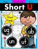 Short U Phonics Practice Printables for Word Families (ut, ug, ub, un)