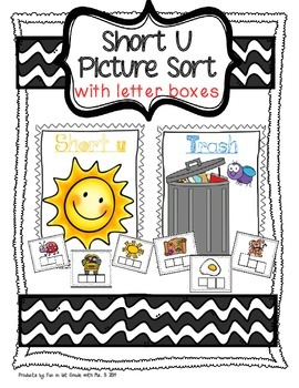 Short U Picture Sort with Spelling Boxes
