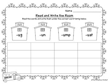 Short U Read and Write the Room / Word Sort