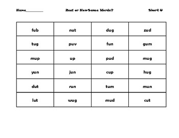 Short U CVC Real or Nonsense word sort
