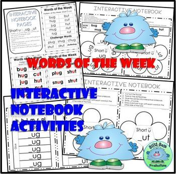 Short U UG and UT Spelling Phonics INTERACTIVE NOTEBOOK WORD WORK ASSESSMENTS