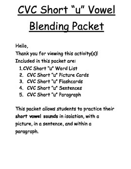 Short U Vowel Blending Packet for Elementary