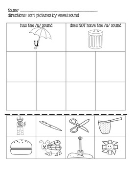 Short U Vowel Picture Sort