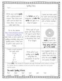 Short U- Weekly Spelling Homework Menu