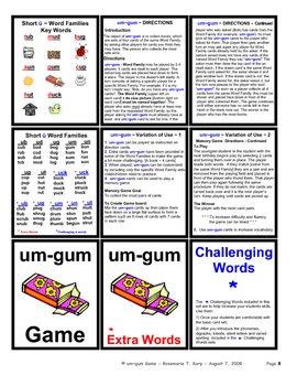 Short U - Word Family - Card Game