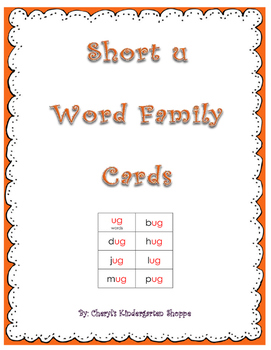 Short U Word Family Practice Cards