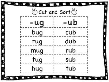 Short Vowel Word Family Sorts- U