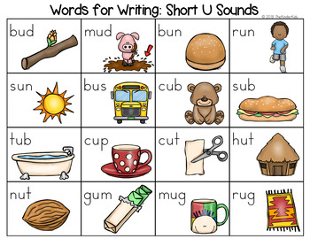 Short U Word List - Writing Center by The Kinder Kids | TpT