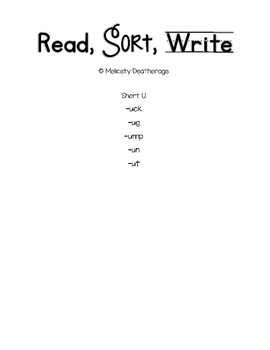 Short U Word Sorts Read, Sort, Write