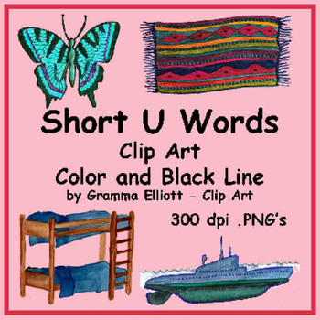 Short U Words in Realistic Color and Black Line