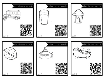 Short U cvc Task Cards with QR Codes for Self-Correcting